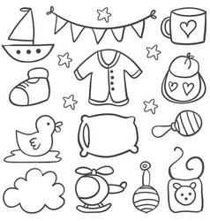 Element baby theme of doodles vector