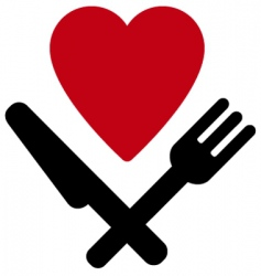 heart fork and knife vector image