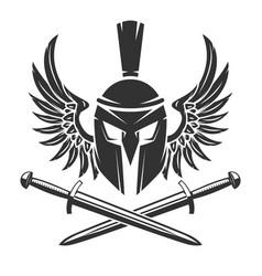 spartan helmet with crossed swords and wings vector image vector image