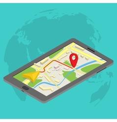 Flat 3d isometric mobile gps navigation maps vector