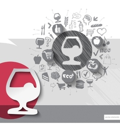Hand drawn drink icons with food icons background vector