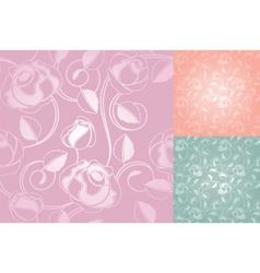 seamless roses pattern wallpaper set vector image