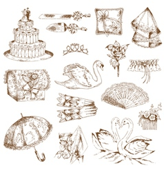 Set of Beautiful Wedding Hand Drawn Elements vector image