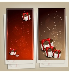 Set of holiday banners with gifts vector image