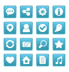 Social media icons on blue square vector image