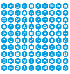 100 calendar icons set blue vector