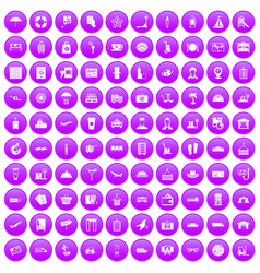 100 luggage icons set purple vector