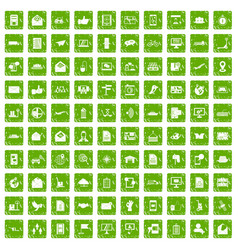 100 post and mail icons set grunge green vector