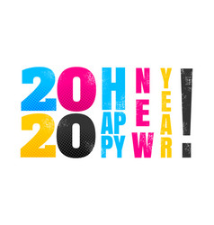 2020 in cmyk style vector image
