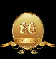 80th golden anniversary birthday seal icon vector