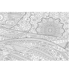 adult coloring book page with stylized landscape vector image