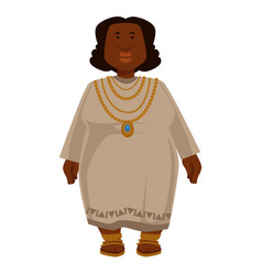 African plump woman in dress and jewelry isolated vector