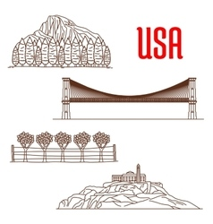 American nature landmarks and sightseeing symbols vector image