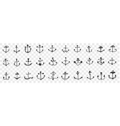 anchors for ships doodle set vector image