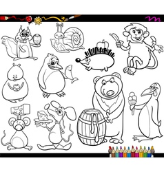Animals and food coloring page vector