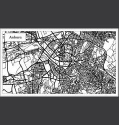Ankara turkey map in black and white color vector