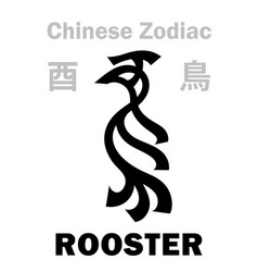 Astrology rooster chicken sign chinese vector