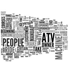 atv for beginners text word cloud concept vector image