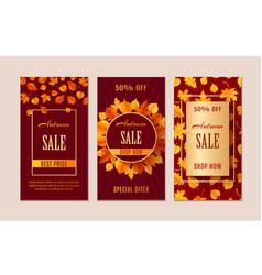 autumn sale banners season leaf card design vector image