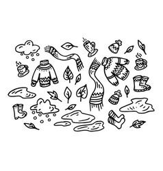 autumn set silhouette doodle vector image