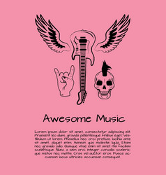 awesome music rock poster vector image