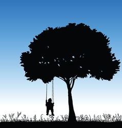 baby on a swing is swinging in a tree vector image