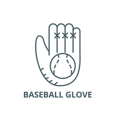 baseball glove line icon baseball glove vector image