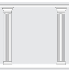 black and white line drawing Doric order columns vector image