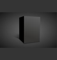 Blank black cube isolated on dark background vector
