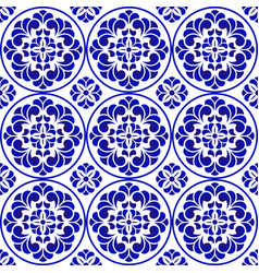 blue and white pattern flower vector image