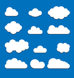 blue cloud set icons isolated on background moder vector image