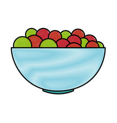 bowl with fresh grapes vector image
