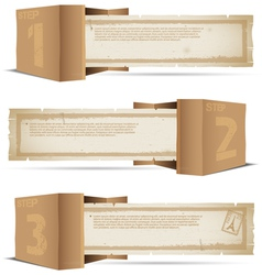 Box with old paper and stamps vector