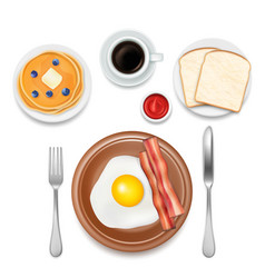 Breakfast foods top view vector