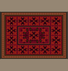 Burgundy carpet with ornament red flowers vector