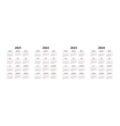 Calendar 2021 2022 2023 2024 years vector