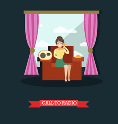 call to radio studio concept vector image