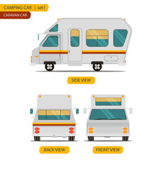Car set for camping caravan with three views vector