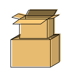 Cardboard box stacked in watercolor silhouette vector