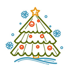 christmas evergreen tree with toys isolated icon vector image