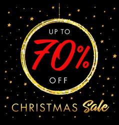 christmas sale up to 70 off star banner vector image