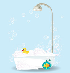 cute cartoon of bathtub on blue vector image