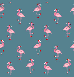 Cute pink flamingo new year and christmas seamless vector
