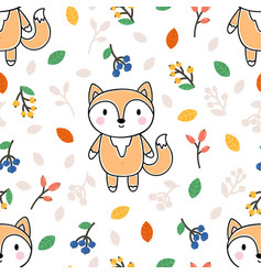Cute seamless pattern with little fox leaves and vector