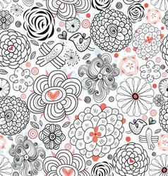 Decorative seamless graphic floral pattern with b vector