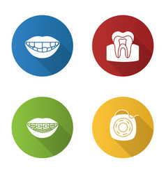 dentistry flat design long shadow glyph icons set vector image