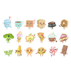 different food childish characters emotion set vector image