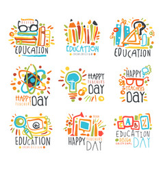 Education labels original design set logo vector