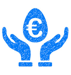 euro deposit care icon grunge watermark vector image