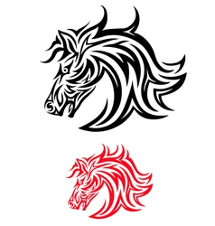face horse tribal vector image